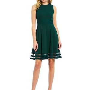 Calvin Klein Round Neck Sleeveless Illusion Dress
